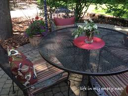 How To Spray Paint Patio Furniture Life In My Empty Nest Painting A Wrought Iron Patio Table And Chairs