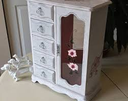 Shabby Chic Jewelry Armoire by Wooden Jewelry Box Etsy