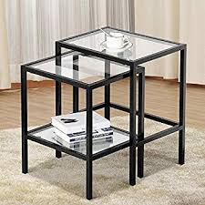 amazon com yaheetech set of 2 nesting tables side end tables