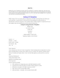 Sample Resume Objectives Psychology by Sample Beginner Acting Resume Resume For Your Job Application