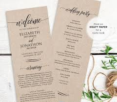 wedding program order wedding program printable order of service rustic ceremony