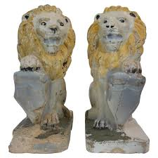 lion statues pair of painted concrete garden lion statues for sale at 1stdibs
