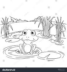 cartoon frog on lily pad lake stock vector 682167445 shutterstock