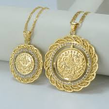 womens necklace pendants images Two size turks pendant necklace arab coin for women gold plated jpg