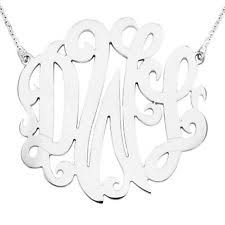 three initial monogram necklace monogram necklace sterling silver three initial ebay