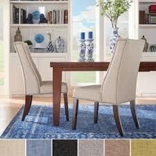 furniture of america telara linen like tufted wingback dining