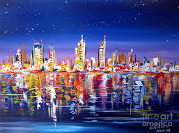 perth painting perth city skyline by night by the swan river western australia by roberto