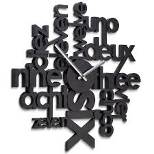 umbra lingua black wall clock black typographic clock