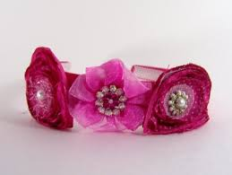 pink headbands satin headband handmade hot pink with three embellished hot pink