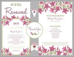vow renewal program templates free vow renewal invitation suite purple floral design