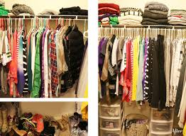 clothes mentor closet before on the left with messy pile of shoes