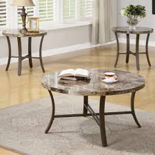 marble like round top u0026 metal base modern 3pc coffee table set