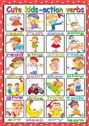 cute kids and action verbs pictionary b u0026w version included