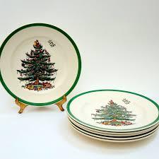 spode tree green trim salad plates china