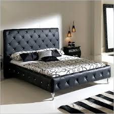 Leather Upholstered Bed Nelly Leather Upholstered Modern Platform Bed In Black Nel