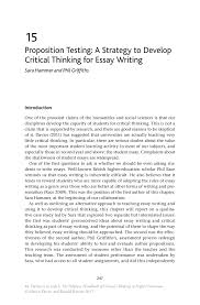 Education Essay Example Proposition Testing A Strategy To Develop Critical Thinking For