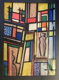 original béla kádár art deco constructivisim painting oil on