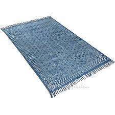 Flat Rug Indigo Blue Cotton Block Print Area Accent Dhurrie Rug Hand Woven