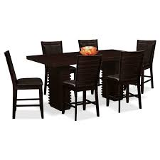 paragon counter height table and 6 chairs brown value city