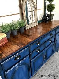 Kitchen Sideboards And Buffets Navy Blue Buffet With Planked Top By Uturn Design Paint It