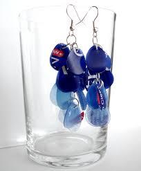 plastic bottle earrings blue ecofriendly earrings made of recycled plastic bottle