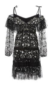 moda operandi supernova ruffled open shoulder dress by needle u0026amp