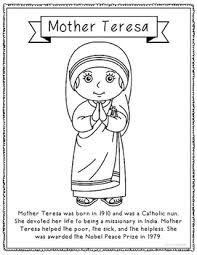 biography for mother mother teresa coloring page craft or poster with mini biography
