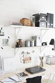 wall mounted storage shelves over the desk