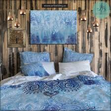 Duvet Covers Teal Blue Boho Bedding Free Spirit Duvet Bedding Set Blue Tie Dye Boho