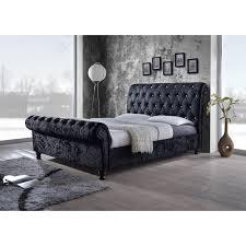Black King Platform Bed Baxton Studio Castello Black Velvet Upholstered Faux Crystal
