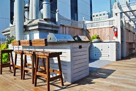 contemporary roof deck with wooden barstools and outdoor bar