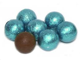 chocolate caramel filled balls teal 5lb