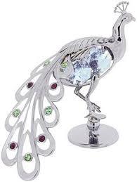 crystocraft peacock bird figurine ornament with swarovski crystals