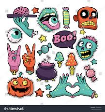 halloween pumpkin patch background halloween set patches pumpkin zombies other stock vector 495878800