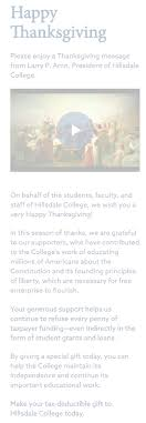 happy thanksgiving hillsdale college