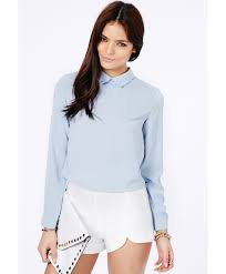 baby blue blouse lyst missguided chella collared sleeve blouse in baby blue