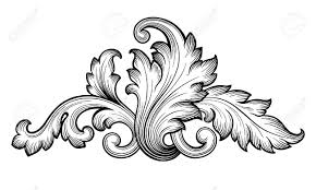classic clipart flower scroll pencil and in color classic