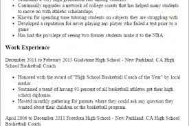 Sample Basketball Coach Resume by Coach Cv Coach Football Resume High Baseball Coach Sle