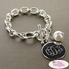 monogram charm monogrammed bracelet with pearl charm large chunky monogrammed