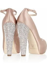 martini peep brian atwood martina swarovski satin peep toe pumps in natural lyst