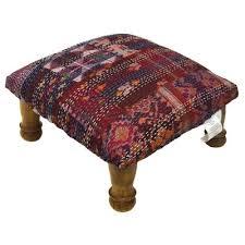 Ikat Ottoman Designs Kantha Stitched Ikat Ottoman Wayfair