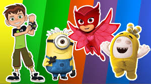 learn shapes and colors with oddbodds ben10 minions spongebob