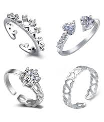 finger rings girls images Om jewells cz jewellery combo of 4 graceful rhodium plated finger jpeg