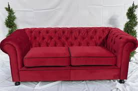 red velvet chesterfield inspired 2 seat sofa funky furniture hire
