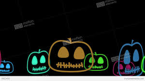 cute spooky background halloween animated background with cute little neon pumpkins stock