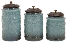 blue kitchen canister set ceramic canisters set of 3 traditional kitchen
