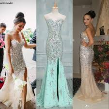 gorgeous strapless crystal mermaid prom dresses 2016 bling
