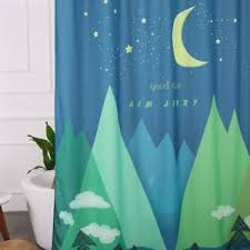 72 X 78 Fabric Shower Curtain Aimjerry Fabric Shower Curtain Green Moon 72 X 78 With 12 White