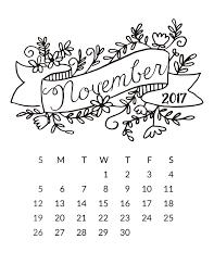 printable calendar page november 2017 free 2017 printable calendar free pretty things for you