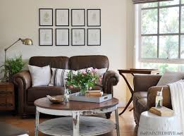 Decorating Coffee Table Decorating With A Brown Sofa